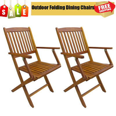 2 pcs Outdoor Garden Foldable Dining Chairs Solid Acacia Wood Natural Style UK