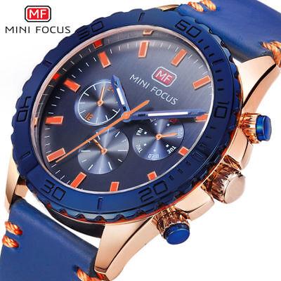 Mini Focus Sub Dial Decorate Leather Strap Sports Blue Quartz Military Watch