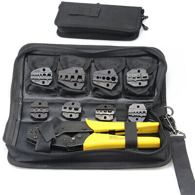 Crimping Tool Kit Terminal Ratchet Plier Crimper 8 Interchangeable Die Sets New