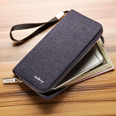 Men's Canvas Long Zipper Wallet Casual Clutch Multi-card Purse Handbag Best