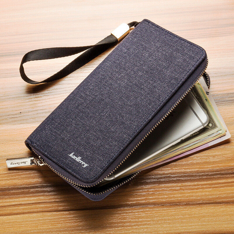 Men's Canvas Long Zipper Wallet Casual Clutch Multi-card Holder Purse Handbag US Clothing, Shoes & Accessories