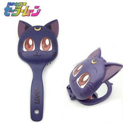 Anime Sailor Moon Cute Luna Cat Cosmetic Mirror Make Up Comb Halloween Prop](Halloween Animated Mirror)