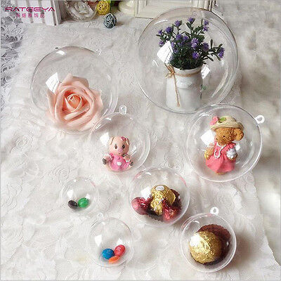 Clear Plastic Craft Ball Acrylic Transparent Sphere Bauble Christmas Baubles
