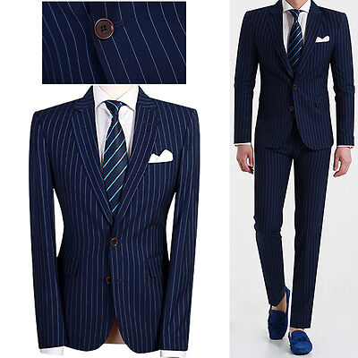 Navy Blue Men s Striped 2BT Slim Fit Suits Wedding Groom Prom Formal Suit US 38R