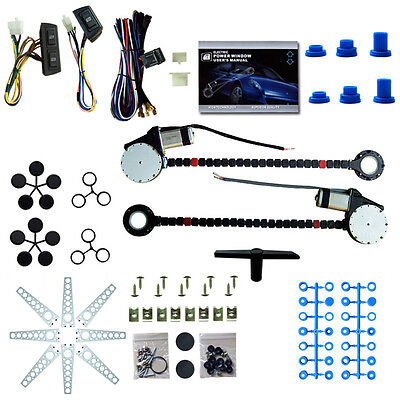 Universal 2 Door Car Truck Electric Power Window Conversion Kit Switches Us
