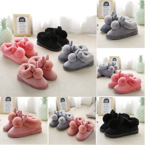 Women Soft Knit Grey Bunny Rabbit Slipper Socks House Shoes Warm Furry  Sz 5-10