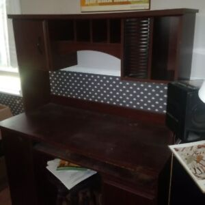 Real wood desk and hutch for sale.