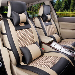 Universal Luxury Leather Black Beige CAR Seat Cover 5