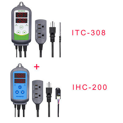 Inkbird Temperature Humidity Controller Combination Gauge Itc-308 Ihc-200 110v