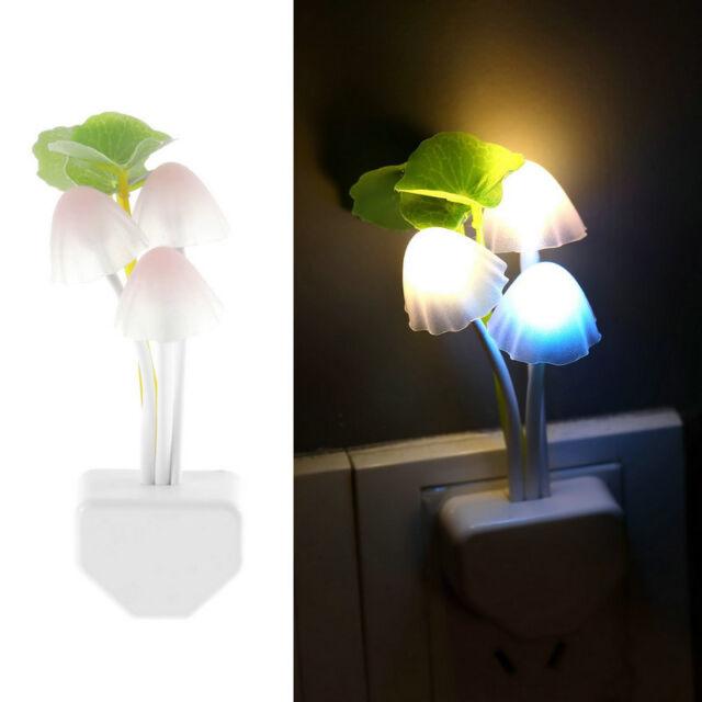 LED Sensor Mushroom Lotus Light Bedroom Night Lamp US Plug + AU Converter SG