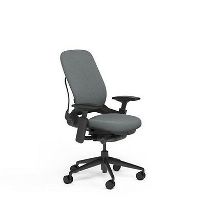 New Steelcase Adjustable Leap Desk Chair - Buzz2 Grey Fabric Seat - Black Frame