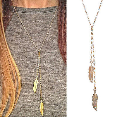 Long Chain Necklace Chic Leaf Feather Tassel Pendant Necklaces H&P (Long Necklace Leaf)