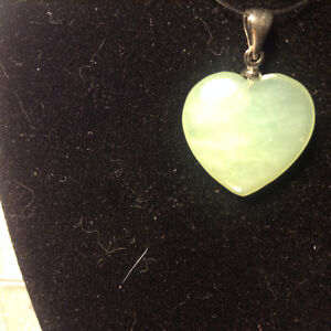 Carved Green Jade Stone Heart Pendant