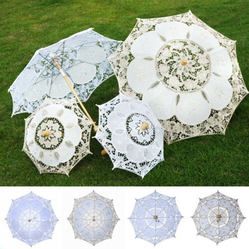 Women Cotton Lace Bridal White Parasol Wedding Umbrella Para
