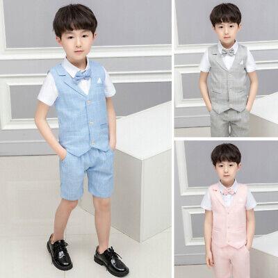 Boys Suits Linen Suit, 3 Piece Short Set Suit, Wedding Page boy Formal Baby Boys - Boys Linen Short Suit