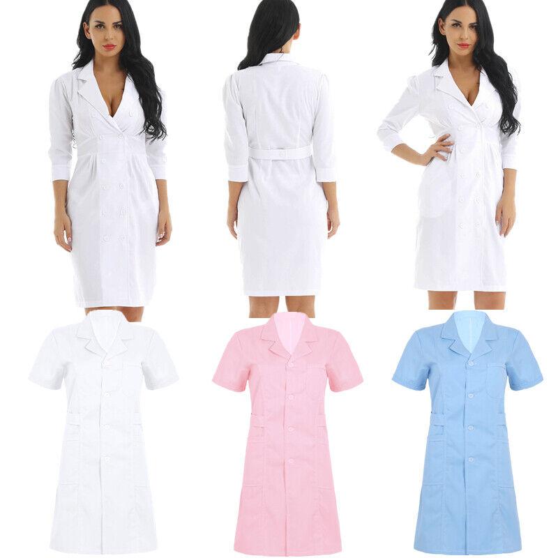 Women Lapel Collar Nurse Uniform Hospital Medical Doctor Nursing Dress Lab Coat Ebay
