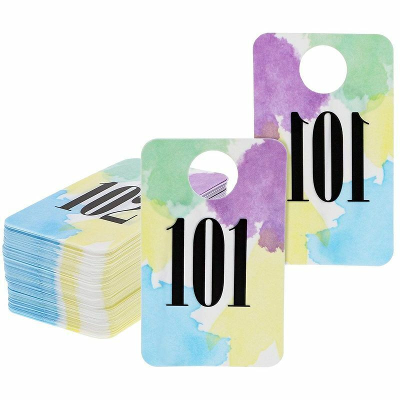 100x Live Sale Plastic Number Tags, Pastel Watercolor Design, Numbers 101-200