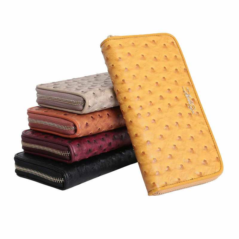 Aitbags Ostrich Grain Leather Wallet for Women Clutch Purse