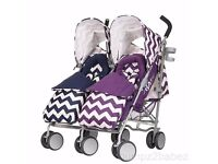 OBABY LETO PLUS TWIN pushchair FOOTMUFFS AND RAINCOVER ZIG ZAG NAVY PURPLE