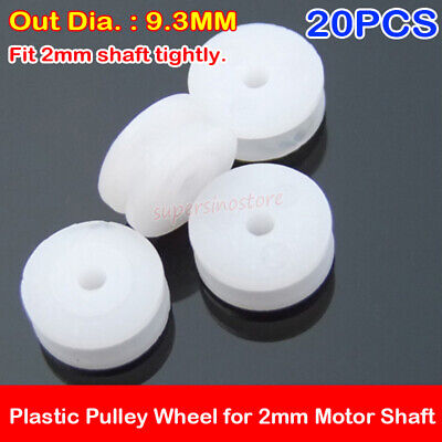 20pcs Micro Mini 29.3mm Plastic Pulley Wheel For 2mm Motor Shaft Diy Model Toy