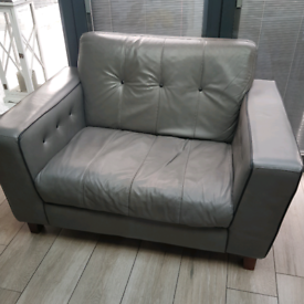 DFS Grey Italian Leather Snuggle Chair Armchair