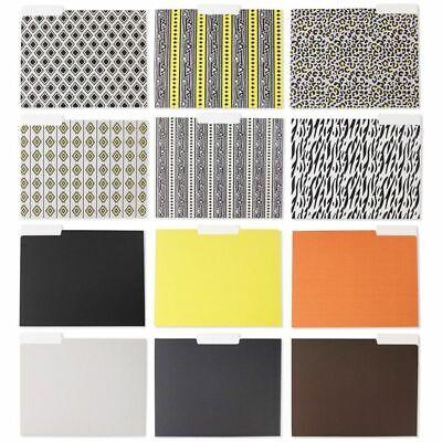 12 Count Decorative File Folders 6 Tribal6 Color Designs Letter Size 11.5x9