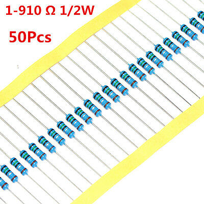 50pcs 12w 0.5w Metal Film Resistor 1 620 680 750 820 1 - 910 Ohm