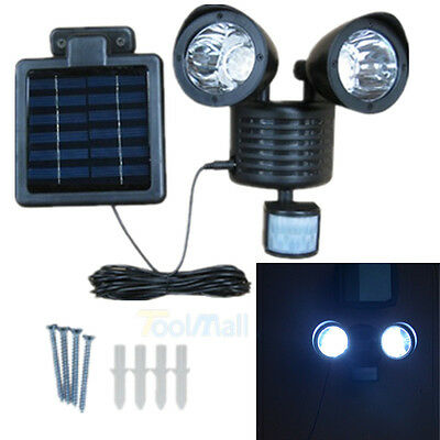 22 LED Solar Powered Motion Sensor PIR Security Light Garden Garage Outdoor USA