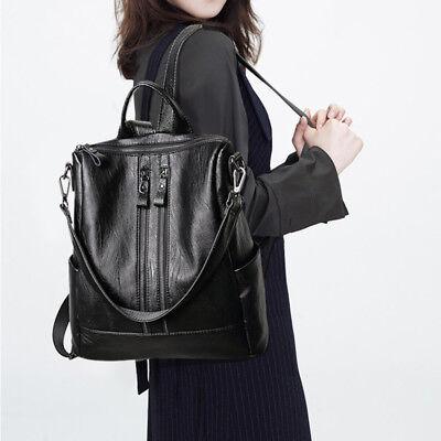 Women Black Leather Travel Backpack Handbag Shoulder School Bag Rucksack Satchel ()
