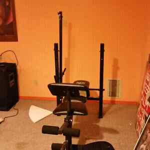 Weight lifting workout bench c/w weights & bars
