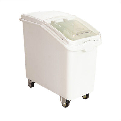 Commerical 27 Gallon White Plastic Mobile Ingredient Storage Bin Food Storage