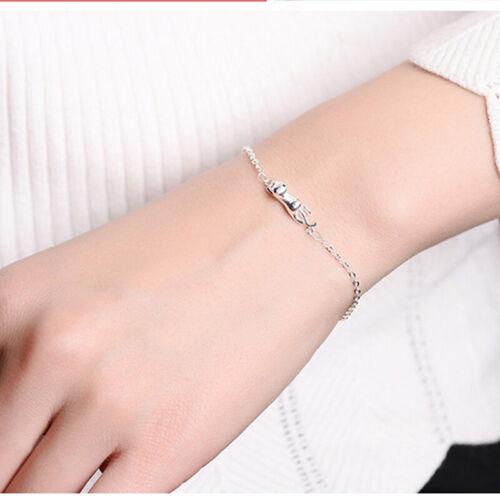 Women's Stylish Cat Pendant Bracelet Hand Chain Sliver Jewel