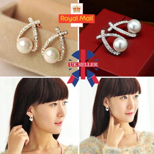 Jewellery - 925 Sterling Silver Pearl Drop Dangle Stud Hook Earrings Womens Jewellery Gift