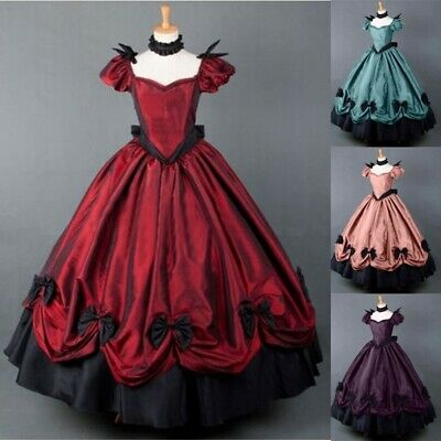 Women Medieval Dress Gothic Retro Victorian Cosplay Costume Ball Gown