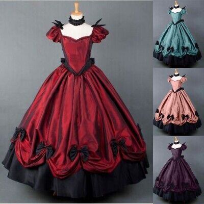Women Medieval Dress Gothic Retro Victorian Cosplay Costume Ball Gown Dresses