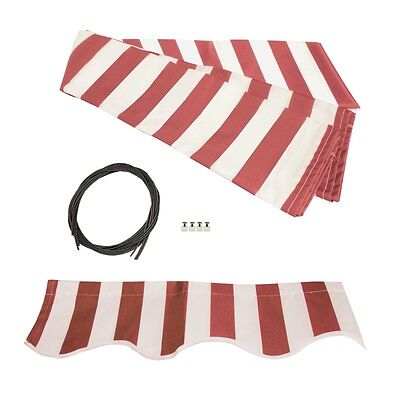 ALEKO Fabric Replacement For 12x10 Ft Retractable Awning Red and White Color