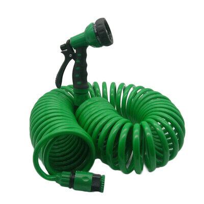 1*Green Flexible Coiled Spiral Garden Water Hose Pipe With Spray Nozzle Gun Tool Spiral Flex Hose