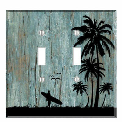 Surfer Beach Palm Tree Distressed Wood Light Switch Plate Wall Cover Outlet