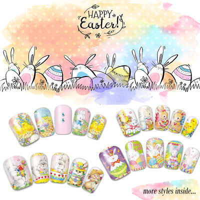 Happy Easter  Nail Stickers Water Transfer Spring Bunny Egg Basket Bird Blessing