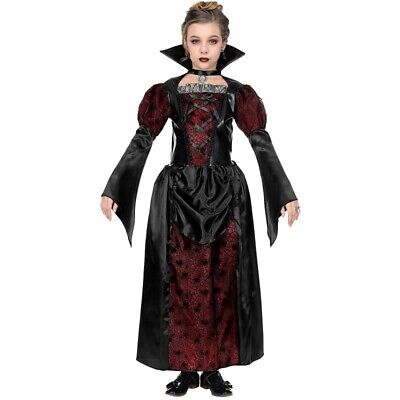Royal Vampirin Vampir Kostüm Kinder Gr. 140 Mädchen Halloween rot-schwarz - Royal Vampir Kostüm