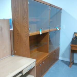 Large wooden wall unit w/glass doors