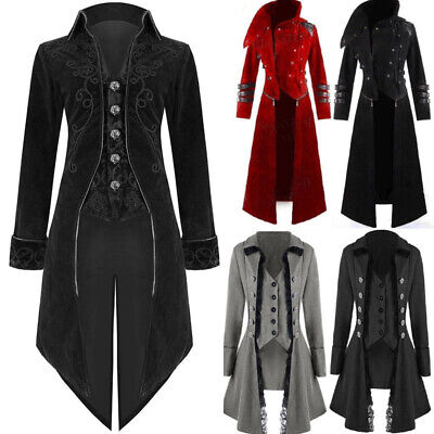 Mens Coat Long Jacket Gothic Steampunk Hooded Trench - Hooded Herren Kostüme