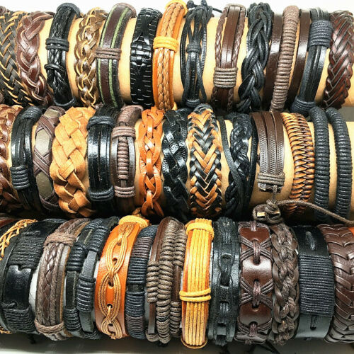 Wholesale 50pcs Mix Handmade Fashion Genuine Leather Cuff Bracelets Jewelry