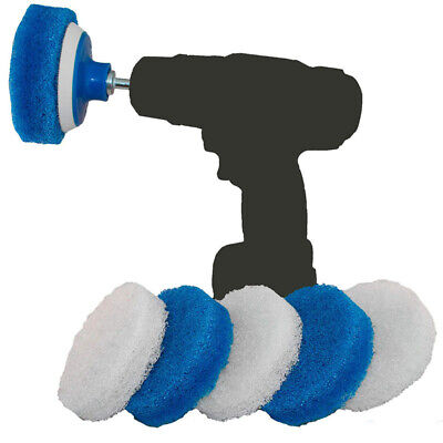Bathroom & Kitchen Cleaning Drill Brush Set -Cleaning Scrub Pads (Blue&White)