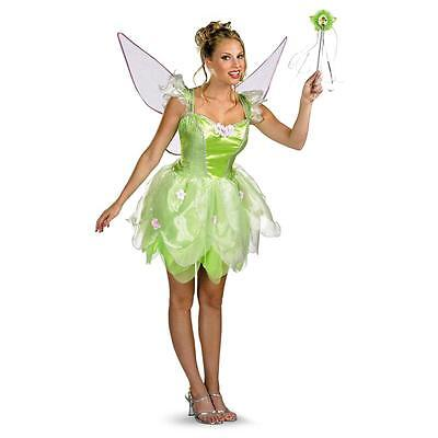 Teenage Tinkerbell Costume (Tinker Bell Fairy Pixie Green Dress Up Halloween DLX Teen Adult Costume)
