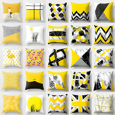 Polyester Yellow Pillow Case Sofa Car Waist Throw Cushion Cover Home Decor Gifts](Yellow Pillow)