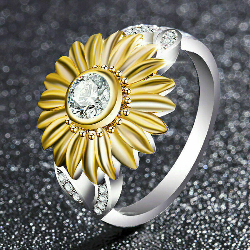12 Colors Charm Jewelry Rings Rhinestone Accessory Sunflower Party Rings US