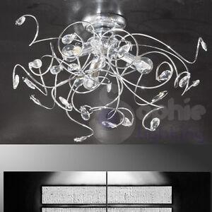 Lampadario plafoniera soffitto design moderno acciaio cromo cristalli soggiorno