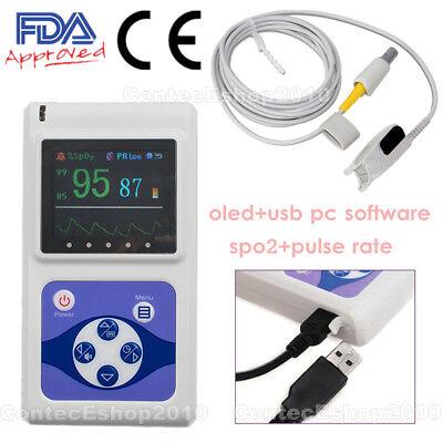 Oled Handheld Finger Pulse Oximeter Spo2 Heart Rate Monitor Usb Pc Software