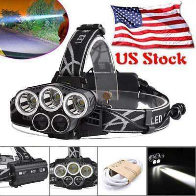 80000LM 5X XML T6 LED Rechargeable USB Headlamp Headlight Flashlight Torch US GA